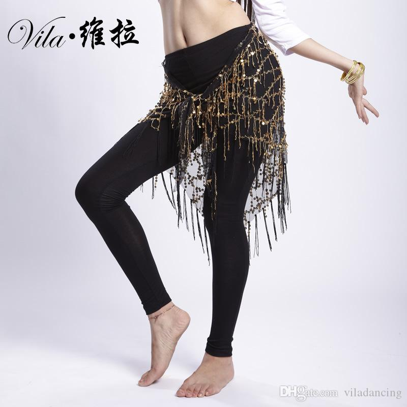 New Tassels Belly Dance Costume Hip Scarfs Tribal Triangle Tassel Belt Gold Sequins Dancing hip scarf