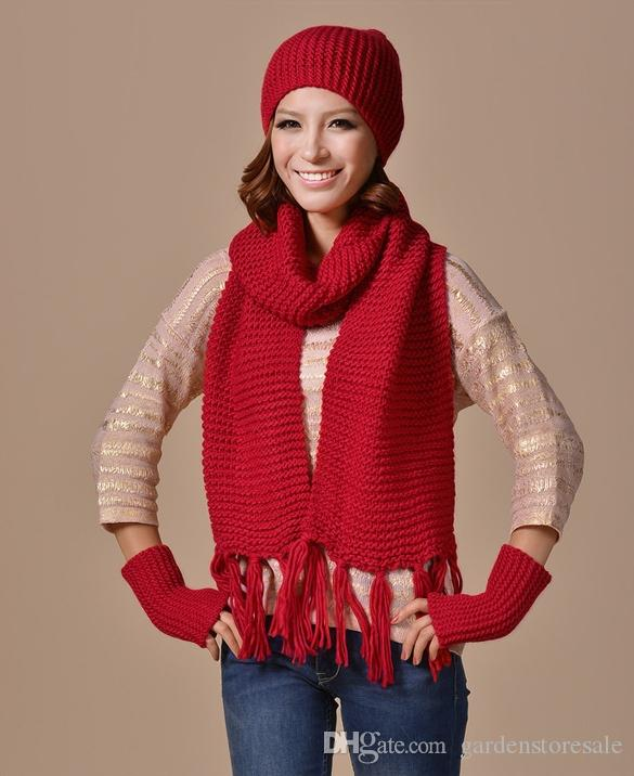 Winter Hat Women s Hat Scarf Gloves Set Nice Tocas Feminina Female Knit Scarves  Sets Outdoor Warm Beanie Scarves   Gloves Hat   Glove Sets Fashion ... b751201d598