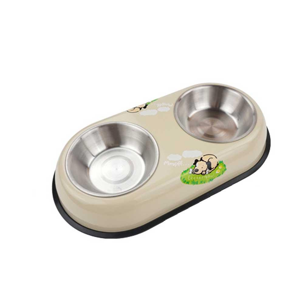three colors pet cat puppy dog bowl food dish water feeder stainless