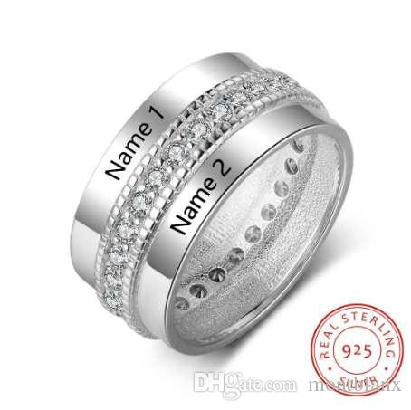 925 Sterling Silver Personalized Rings For Women Cubic Zirconia Stone Engraved Name Rings Wedding Jewelry Gift Ri103505