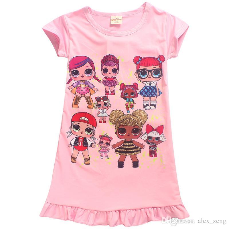662b6761a 2018 New Girls Pajama Dress Cartoon Dolls Printed Dresses Girls ...