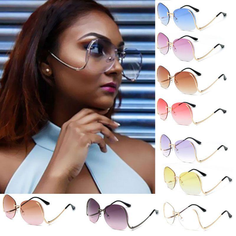 0140bae4a6 Luxury Big Metal Frame Oversized Sun Glasses For Women 2018 Vintage ...