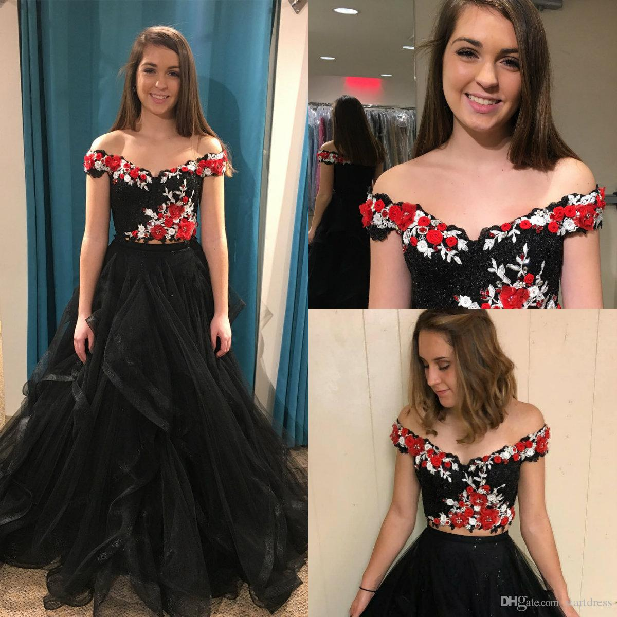 Black Prom Dress Applique 3D Floral Formal Party Gowns Elegant Off Shoulder  Organza Tassel Long Girls Sexy Holiday Beaded Vestidos Prom Dress Boutiques  Prom ... 9b1767ffe