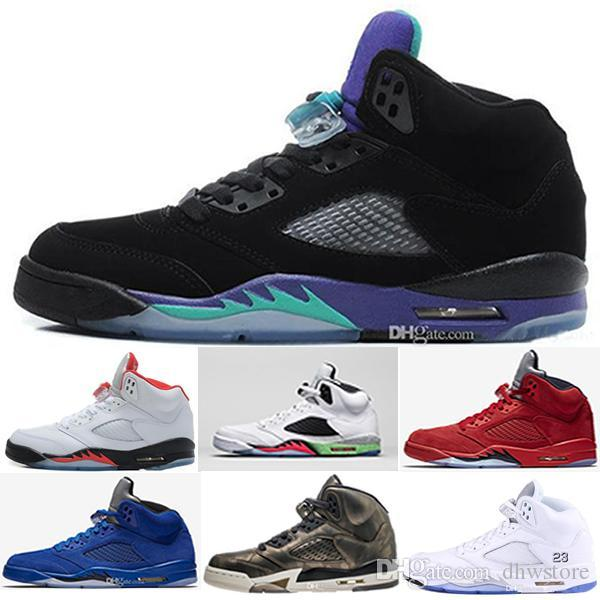 New Casual 5 Designer 5s Cheap men sneakers OG black metallic fire red Blue Suede Olympic Metallic Gold 5s White Cement trainers sport shoes outlet 2014 newest new cheap online SB5MGJL