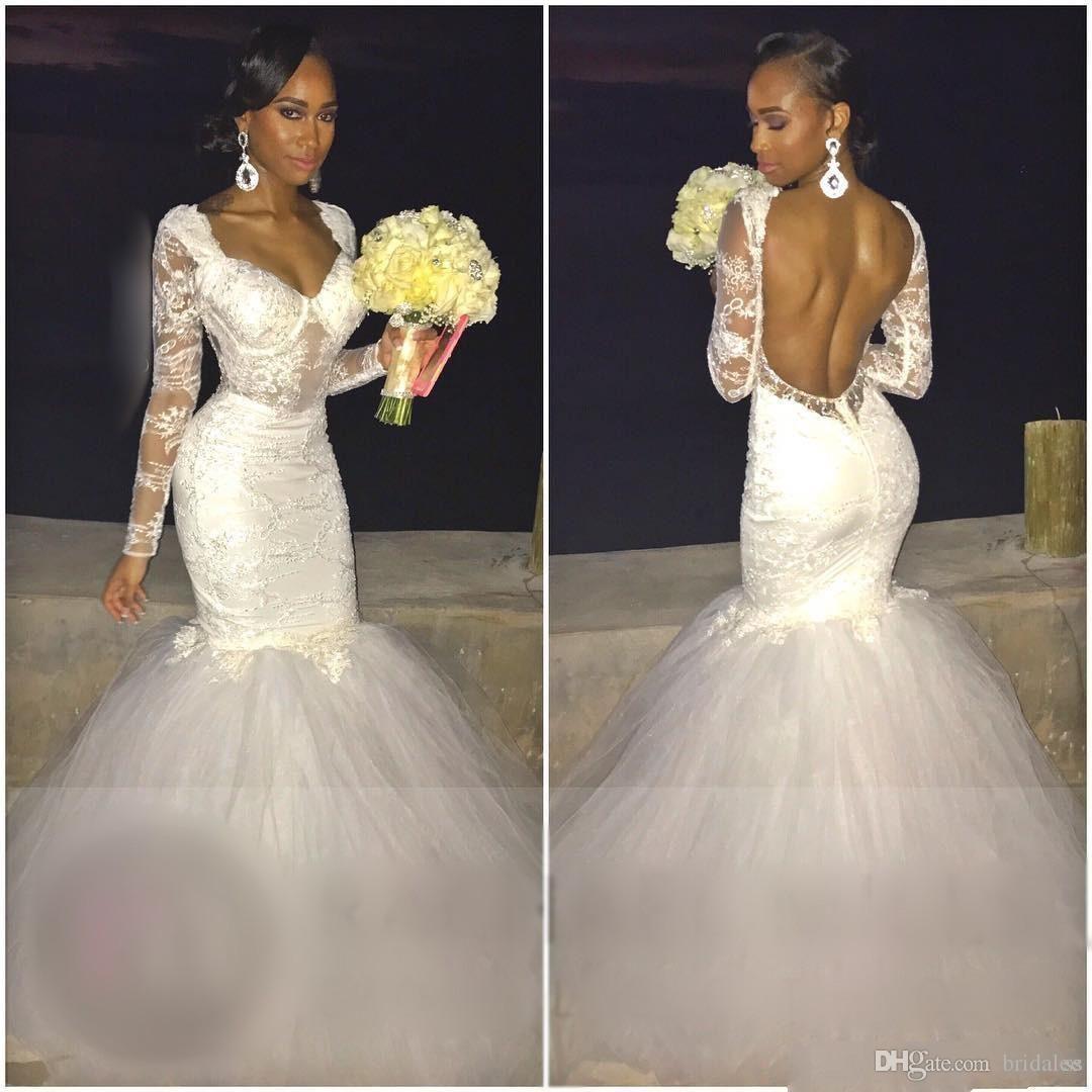 Sexy Open Back Long Sleeve Wedding Dress
