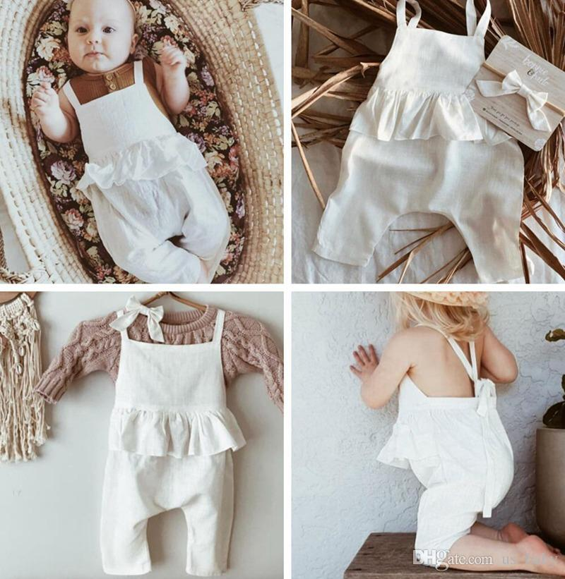 f93bee59736c Ins Baby Ruffles White Overalls Girl Summer Fashion Suspender Pants Toddler  Ruffles Cotton Linen Rompers Clothes Suspender Outfit For Baby Pink  Suspenders ...