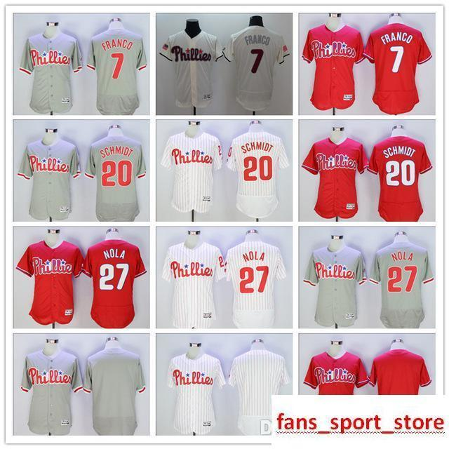 sale retailer 00cbf 55241 2019 Mens Phillies 7 Maikel Franco 20 Mike Schmidt 27 Aaron Nola baseball  Jersey color gray red white blank 100% stitched jersey top quality