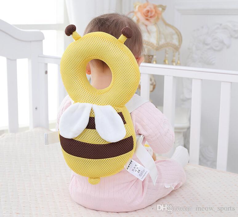 아기 머리 보호 패드 유아 안티 드롭 저항 쿠션 간호 머리 받침 베개 아기 목 귀여운 날개 가을 방지 하락