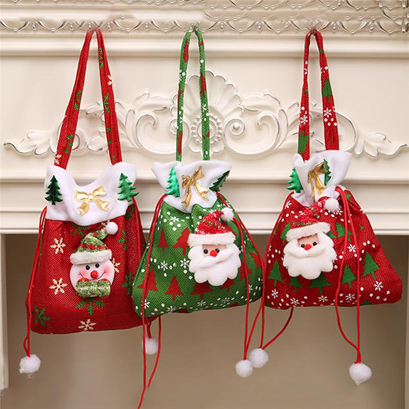 Christmas Gift Bags.Festive Christmas Gift Bags Santa Snowman Drawstring Candy Bag High End Christmas Hangings Classic Kid S Xmas Gift Candy Bags