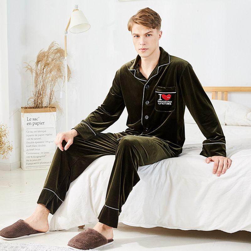 fe43a7bdb4 2018 Autumn And Winter New Couple Pajamas Men s Velvet Thickening ...