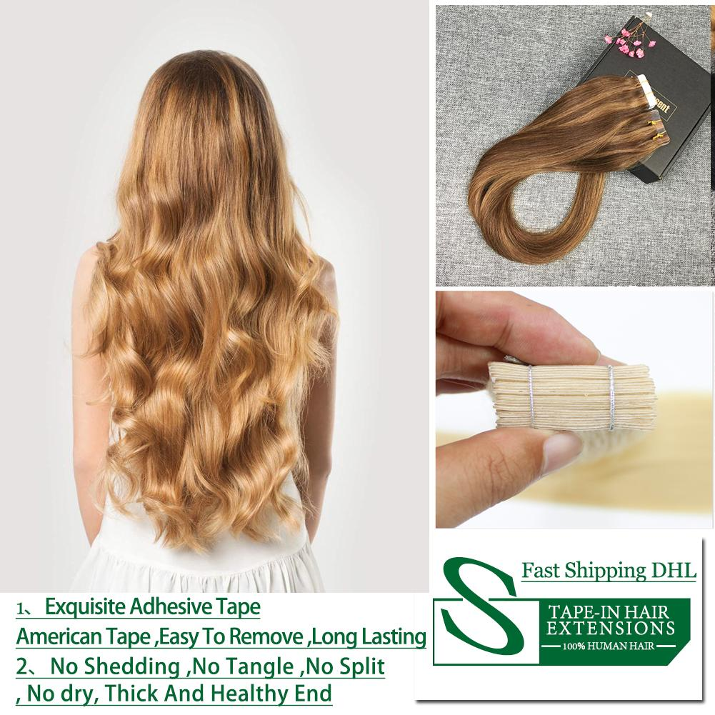 Tape In Hair Extensions Brazilian Remy Human Hair 14 Inch 24 Inch