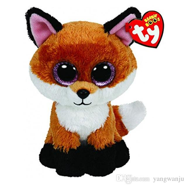 Ty Beanie Boos 6-Inch Slick Brown Fox Plush Beanie Baby Plush Stuffed Doll Toy Collectible Soft Toys Big Eyes Plush Toys