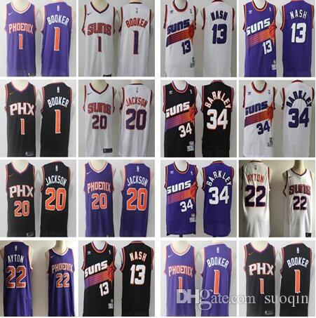 info for 1aa43 a156f new Phoenix Suns jerseys Men 13 Steve Nash Jersey 34 Charles Barkley 1  Devin Booker 20 Josh Jackson Basketball jersey 22 DeAndre Ayton