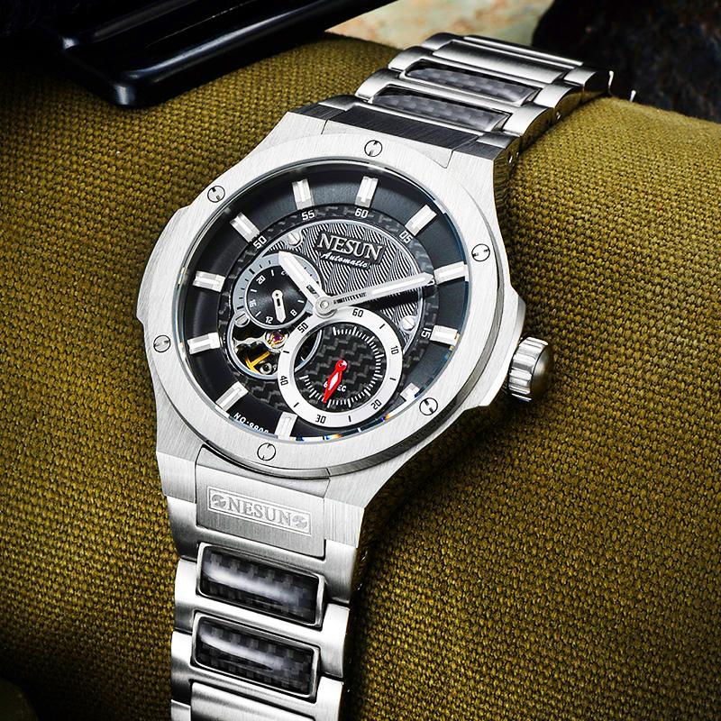 4c23b80ee8f Compre Moda NESUN Sapphire Sports Relógios Homens Aço Inoxidável À Prova D   Água Automática Mecânica Relógios De Pulso Relógios Masculino Relogio  Masculino ...