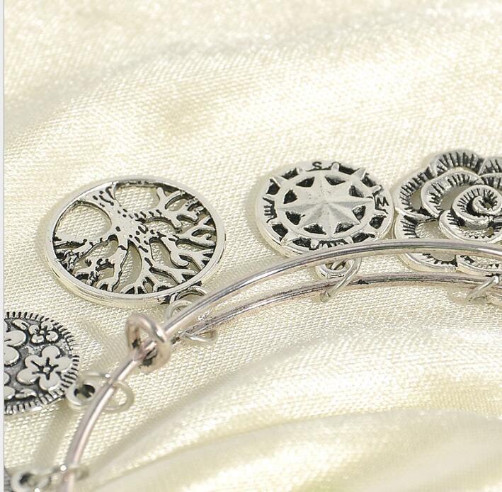 العلامة التجارية الفضة قابل للتعديل أساور الإسورة مع أشجار الحياة نجمة سحر سوار الكفة الاسوره مجوهرات للنساء مجوهرات الجميلة هدية عيد