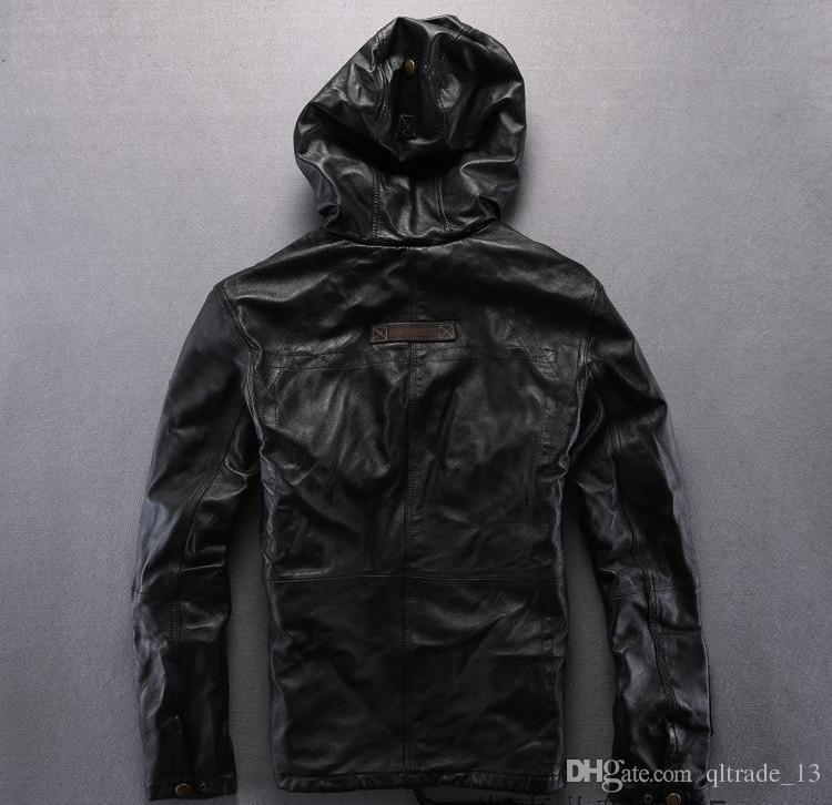 Vente chaude brun foncé AVIREXFLY en peau de mouton veste en cuir pour hommes slim fit Locomotive vestes avec Sweat à capuche