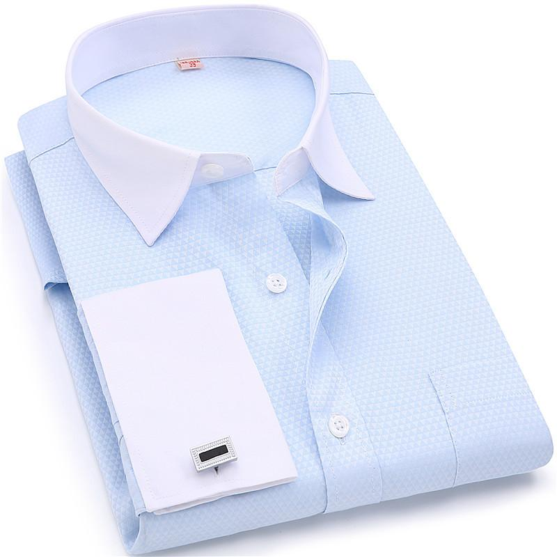 Men French Cufflinks Shirts White Collar Design Solid Color Jacquard Fabric Male Gentleman Dress Long Sleeves ShirtY1882203