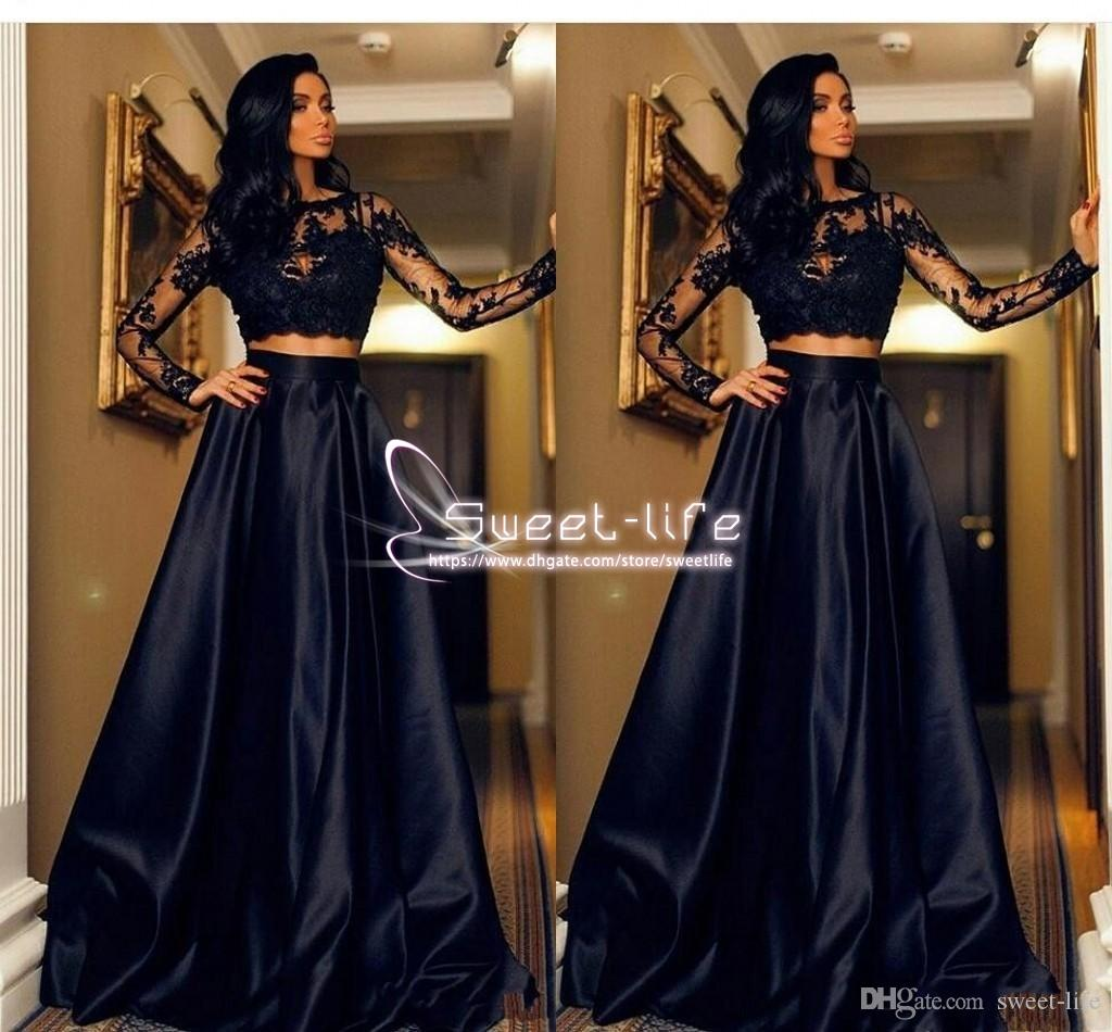 Two Pieces 2019 Cheap Black Prom Dresses Jewel Neck Illusion Long Sleeves Lace Appliques Open Back Plus Size Party Dress Evening Gowns