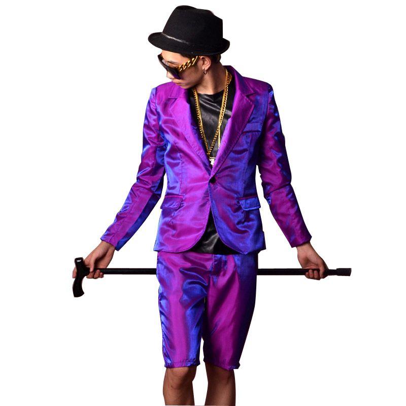 Compre Hombres Purple Shine Trajes Casuales Chaqueta + Pantalones Cortos  Por Encargo Hip Hop Slim Fit Blazer Cantante Bailarín Dj Stage Disfraces A   137.91 ... 66b6d28d8c7