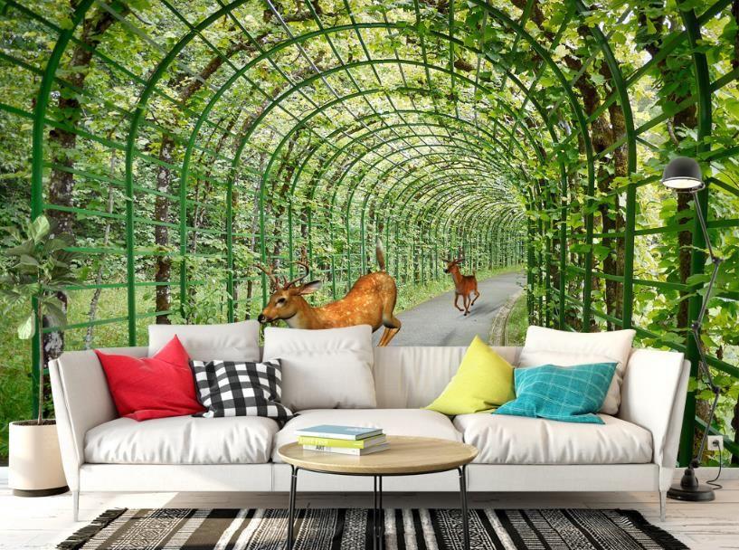 Custom Wallpaper Flower Vine Deer Wallpaper For Walls 3 D Living