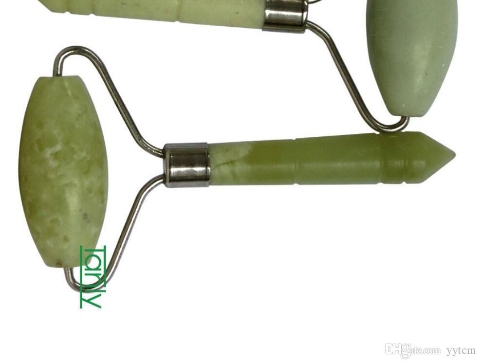 ¡Buena calidad! Comercio al por mayor de belleza al por menor Masaje Guasha Roller Natural Glaze jade 2 unids / lote
