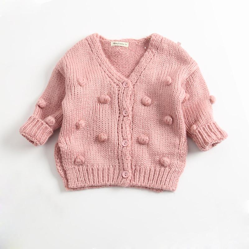 6042506cb52b Autumn Winter Baby Girls Sweater Ball Cardigan Coat Fashion Pom Pom ...