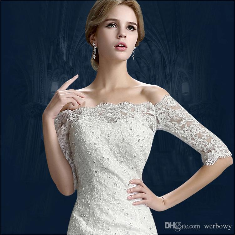 2019 New Winter Word Shoulder Bridal Tail Wedding Dresses Sleeves Lace Decals Beaded Tail Small Trailing Style Church Dresses