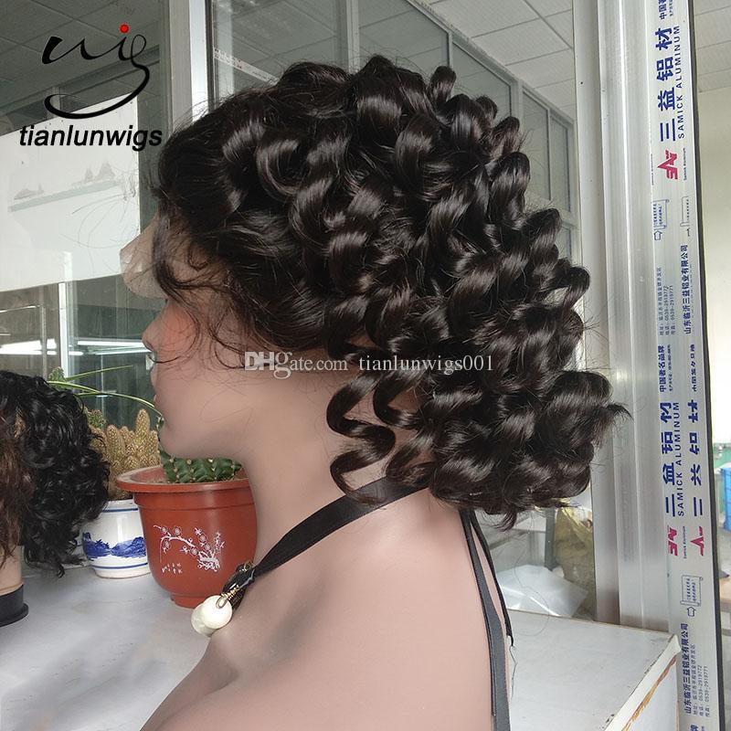 2018 new fasion short hair bob style full lace wig , 150% density deed loose wave human virgin hair lace front wig custom make