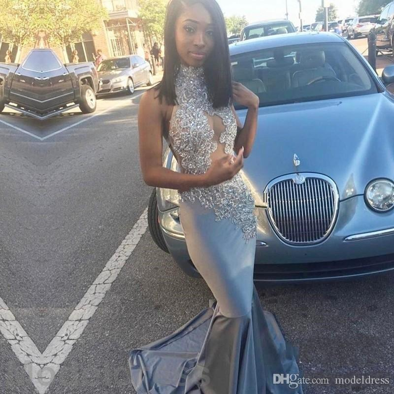 2018 Sexy African Mermaid Prom Dresses Silver High Neck Open Back Appliques Sweep Train Evening Party Gowns Black Girls Customized