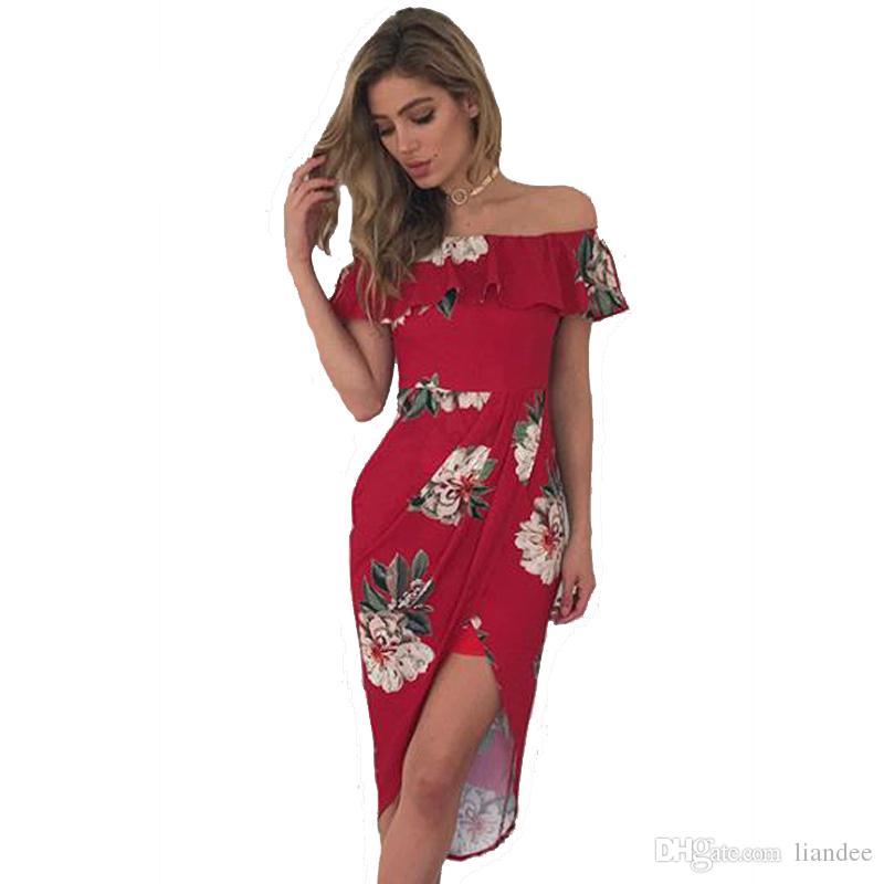 675f7894dbb Acheter Grande Taille Vêtements Femme Mini Robe Mode Femmes Cocktail Robes  Sexy Hors Épaule Fleur Imprimer Mesdames Robe De  26.14 Du Liandee