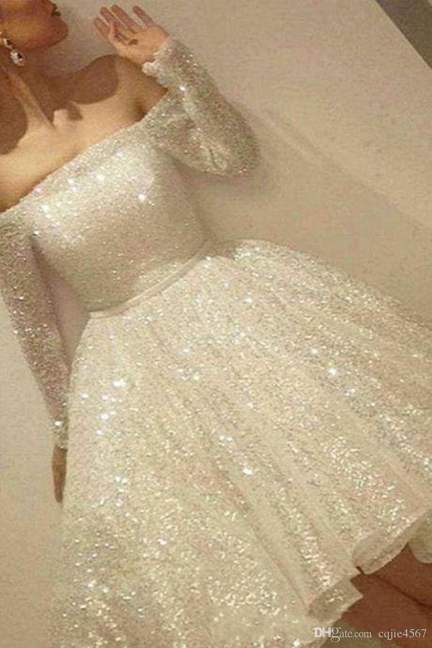 2019 New Arrival White Shine Short Homecoming Dresses Sequins Off The Shoulder Long Sleeve Party Dress Thin Ribbon A-Line Cocktail Dress 639