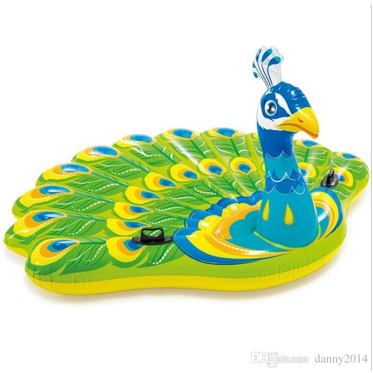 Nuovo design gonfiabile Peacock Adult Water toy Gonfiabile animale Galleggianti Estate Grandi tubi piscine Funny water Beach chair bed