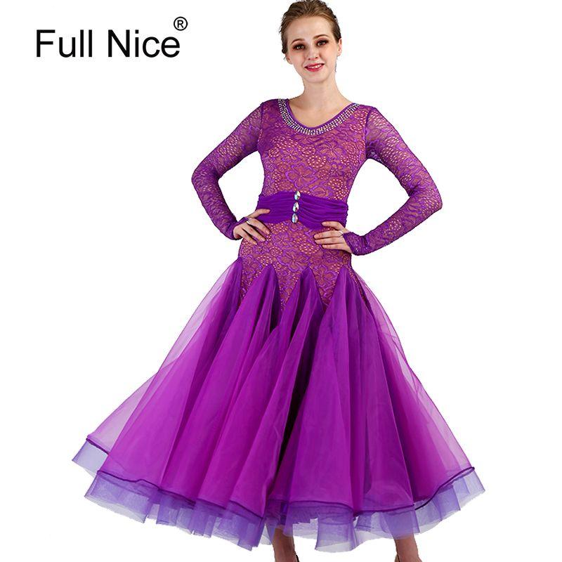 463695d98 2019 New Ballroom Dance Dresses Lace Sleeve Flamenco Dancing Skirt Purple  Modern Dance Costumes Women Stage Waltz Ballroom Dress From Lichee666, ...