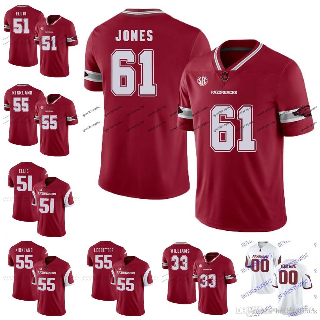 buy online d5de8 f95eb Custom Arkansas Razorbacks 61 Jerry Jones 55 Denver Jeremiah Ledbetter 51  Brooks Ellis 33 David Williams NCAA College Football Jersey