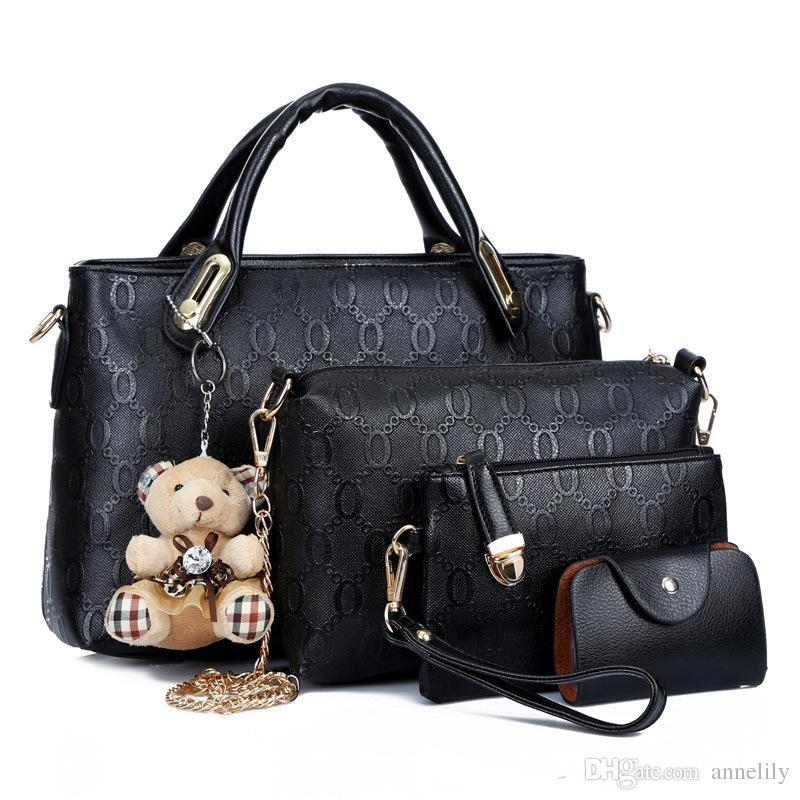 commercio all'ingrosso libero di trasporto 2017 nuove donne di modo cross body composito borsa di marca borse a tracolla messenger borse in pelle PU femminile 4 pezzi set