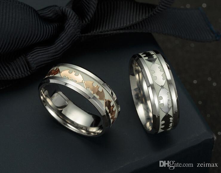 Мужские кольца светящиеся Бэтмен кольца для мужчин черное золото серебро из нержавеющей стали женщины кольца светятся в темноте мужской кольцо ювелирные изделия