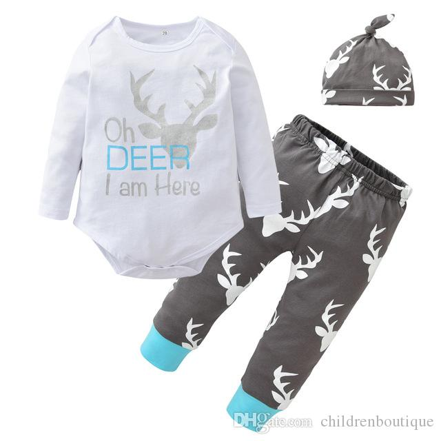 36a6cbb7 Christmas Newborn Baby Boys Girls Clothes Set Infant Toddler Deer Head  Cotton Long Sleeve Romper+Pants+Hat 3pcs Set Kids Casual Outfits