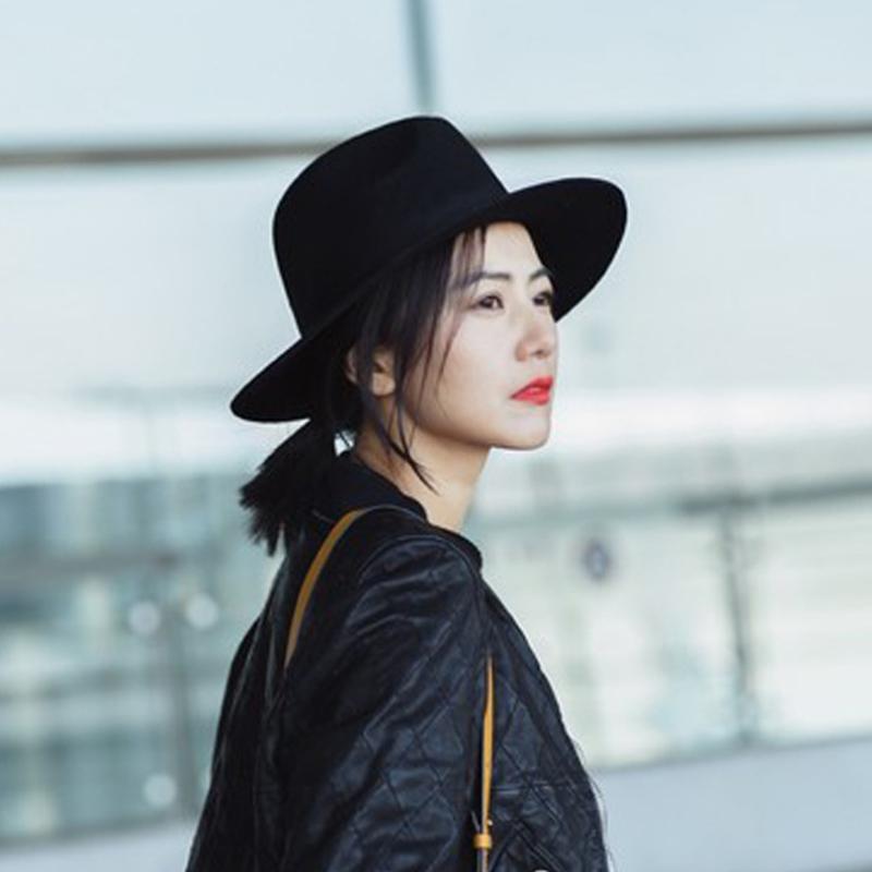 020c315a7b56a Autumn Winter Fashion Fedora Hat Woolen Vintage Pure Black Women s Beach  Sun Hat Female Large Brim sunbonnet lady sun