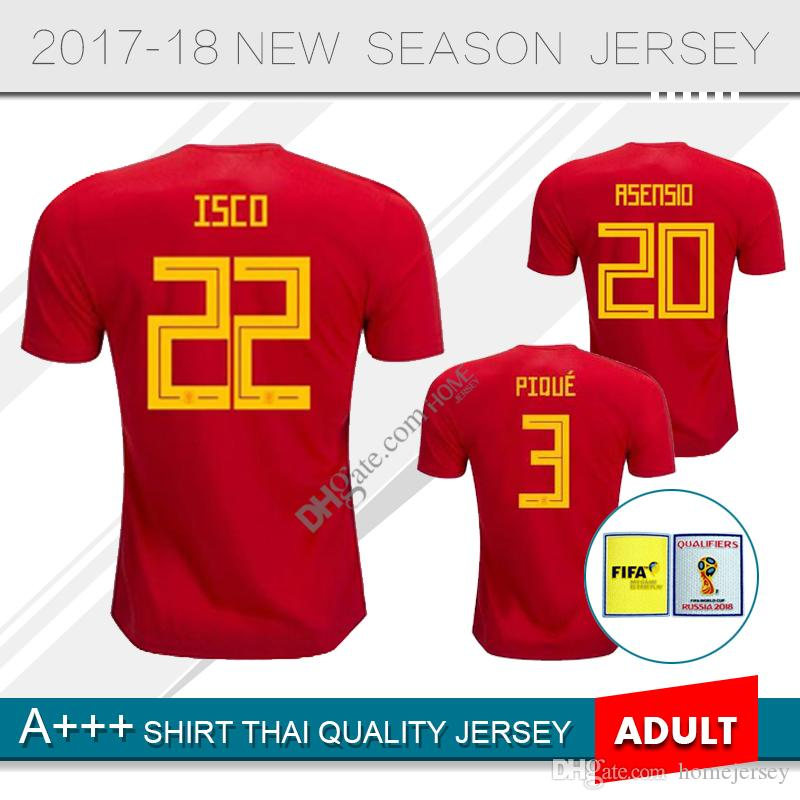 ec327eadde7 2019 2018 World Cup Spain Home Red Soccer Jersey ISCO 2019 National Team  A.INIESTA FABREGAS RAMOS DIEGO COSTA SILVA PIQUE Football Uniforms Sales  From ...