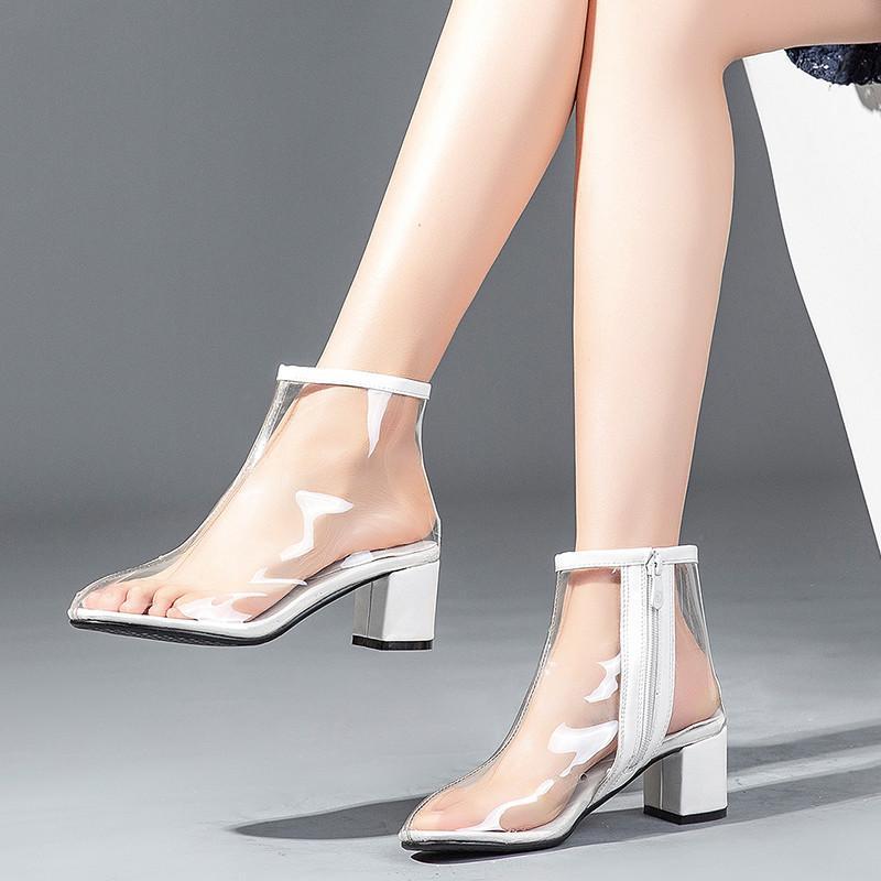 0f48f49bb Compre YMECHIC 2018 Moda Primavera Outono Limpar Botas Transparentes Bloco  De Senhoras De Salto Alto Sapatos Ankle Boots Tamanho Grande Das Mulheres  ...