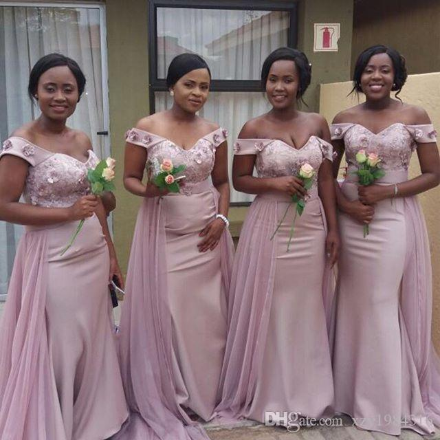 2c89e8ad3f8f Elegant Off Shoulder Bridesmaid Dresses African Lace Appliqued Sash Mermaid Wedding  Guest Dress Custom Made Sexy Maid Of Honor Gowns Gorgeous Bridesmaid ...