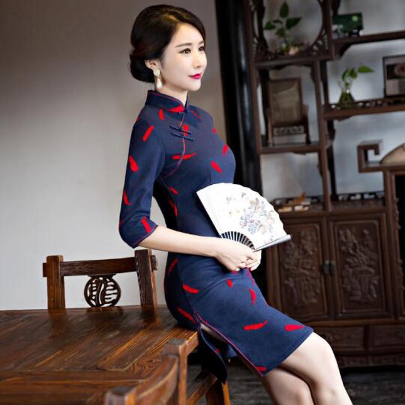 ce0bc4ba6414b Winter Autumn Women's Satin Print Cheongsam Cotton & Woolen Short Qipao Lady  Chinese Oriental Dresses Traditional Chinese Dress