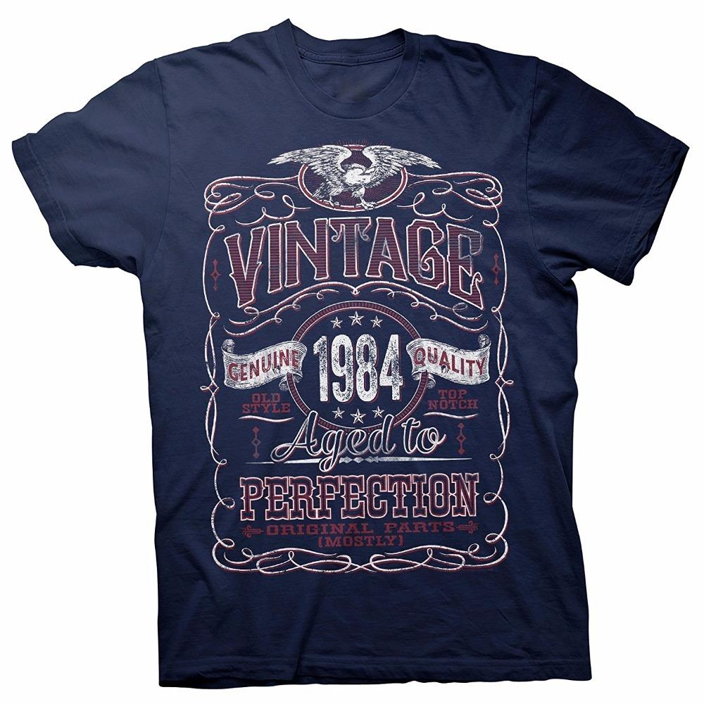Vintage Aged Perfection 1984 Distressed Print 34th Birthday Gift T-shirt Men 2018 Summer Round Neck Men's T Shirt
