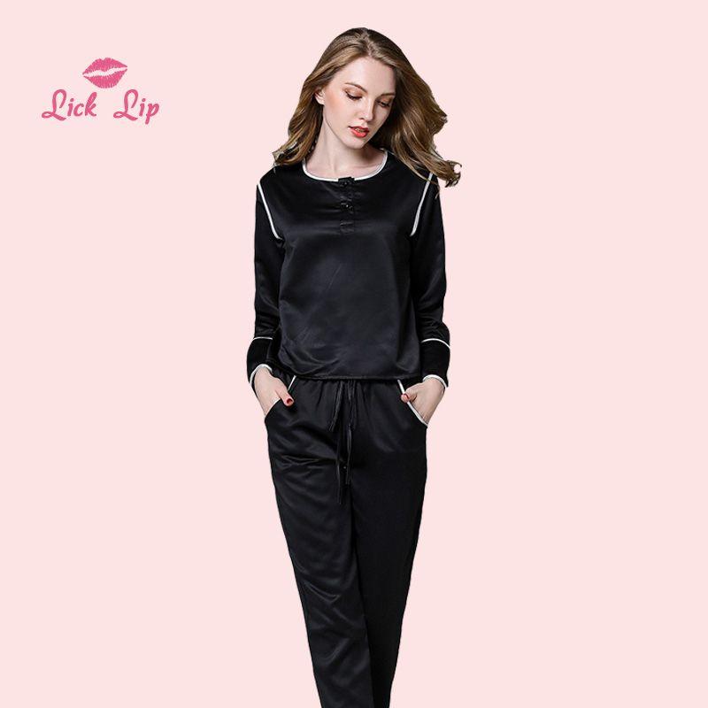 d7adb82a8f1dbd Lamba Pijama Primavera Pijama Pijama Feminino Botão de Cetim Calças de  Manga Longa Set Sleepwear Fêmeas Seda Noite Suit Ladies SWC3229-47