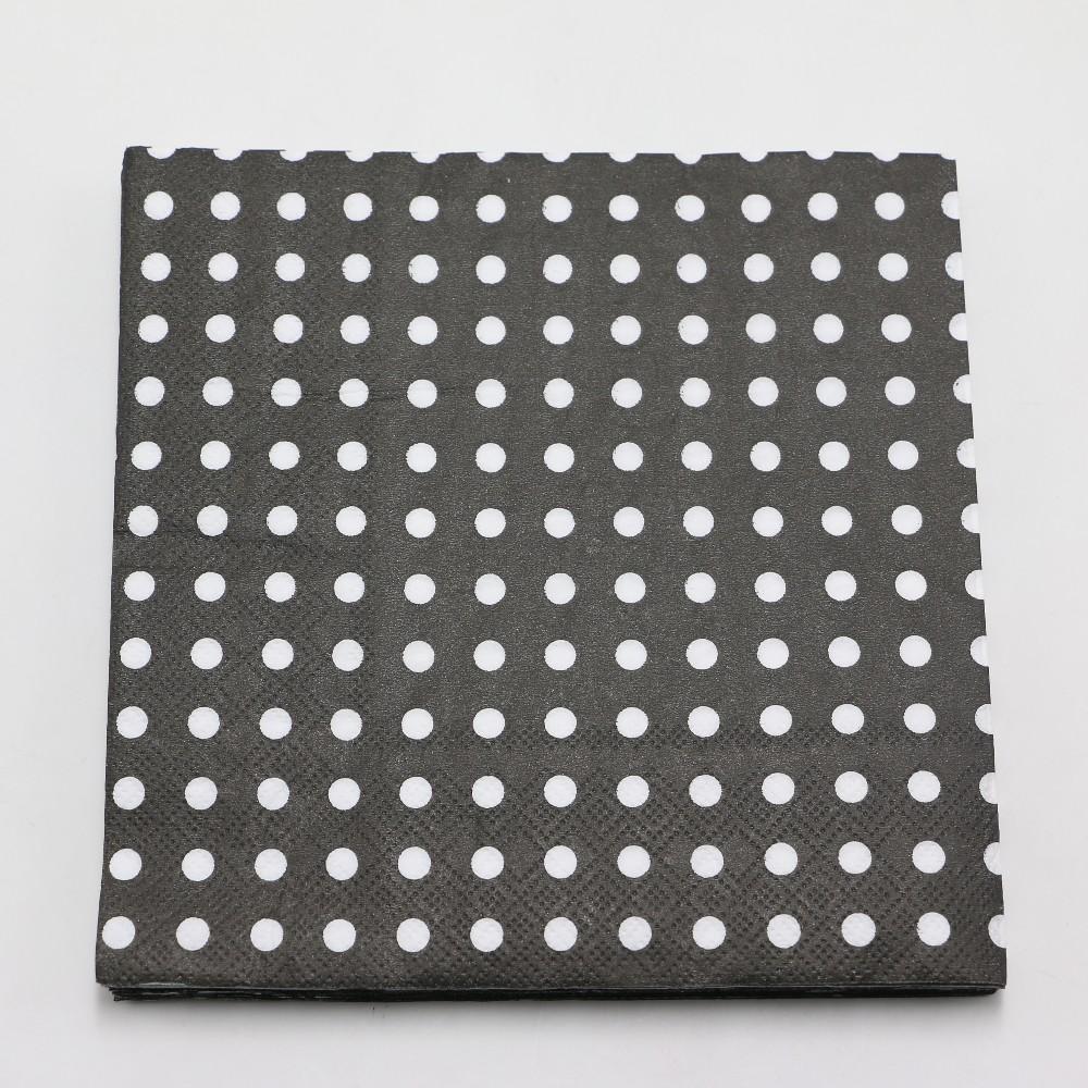 Grosshandel Schwarz Polka Dots Dekoration Papier Servietten Baby
