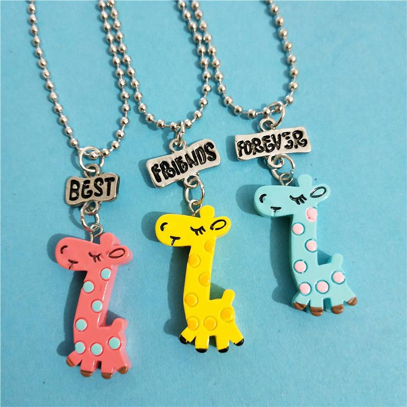2019 Cute Best Friends Forever Bff Giraffe Necklace Keychain Set