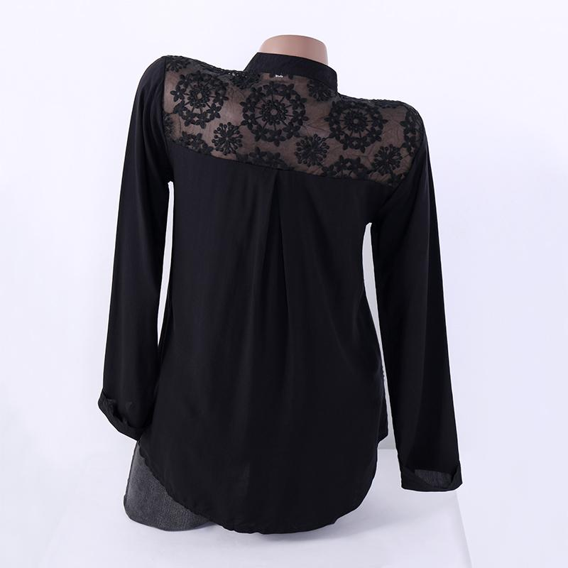 41f5c66eaa 2019 Women Black Lace Blouses 2018 Autumn Female Shirt V Neck Long Sleeve Hollow  Casual Tops Loose Ladies Work Office Blusa Plus Size From Hoeasy, ...