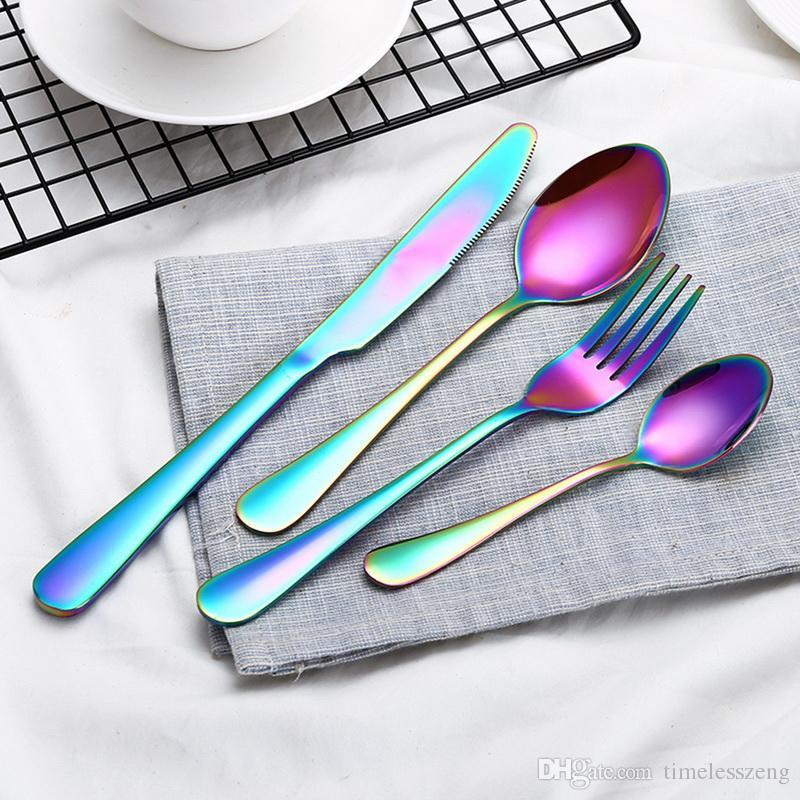 i set alta qualità posate oro posate cucchiaio forcella lama cucchiaino inossidabile insiemi di stoviglie cucina stoviglie impostato 10 scelte