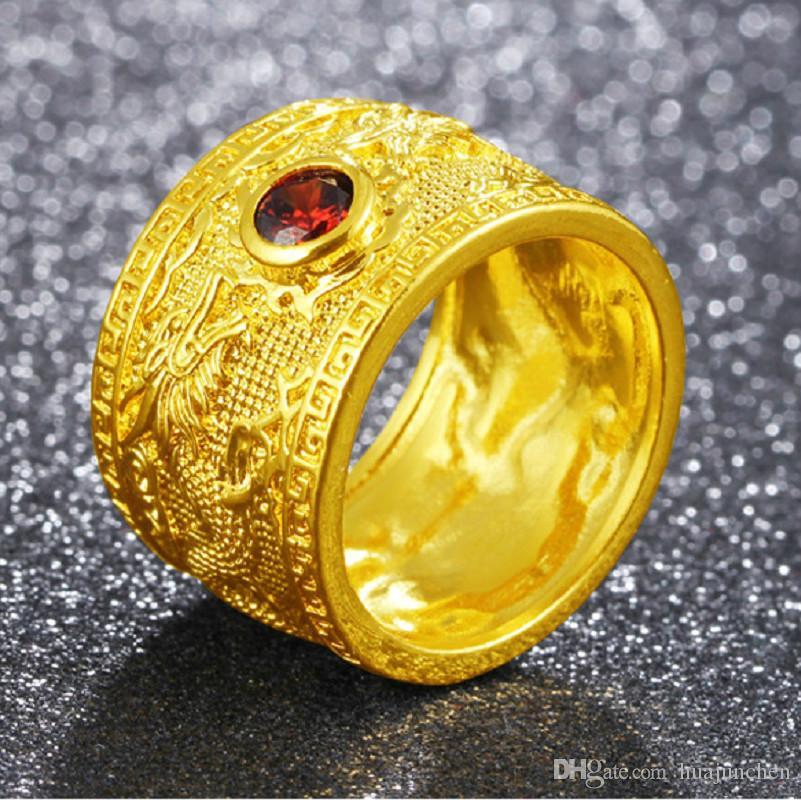 Plaqué Rubis 11 10 12 Extravagant Laiton Bague En Taille Dragon 9 Pour Golden Homme 8 FKcl1J