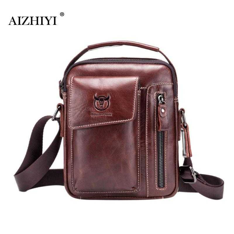 Men Genuine Leather Messenger Crossbody Bag Casual Fashion Male Sling  BagBull Captain Business Shoulder Bags Clutch Handbag New Luxury Bags Cross  Body Bags ... 4d3eb8064d5db